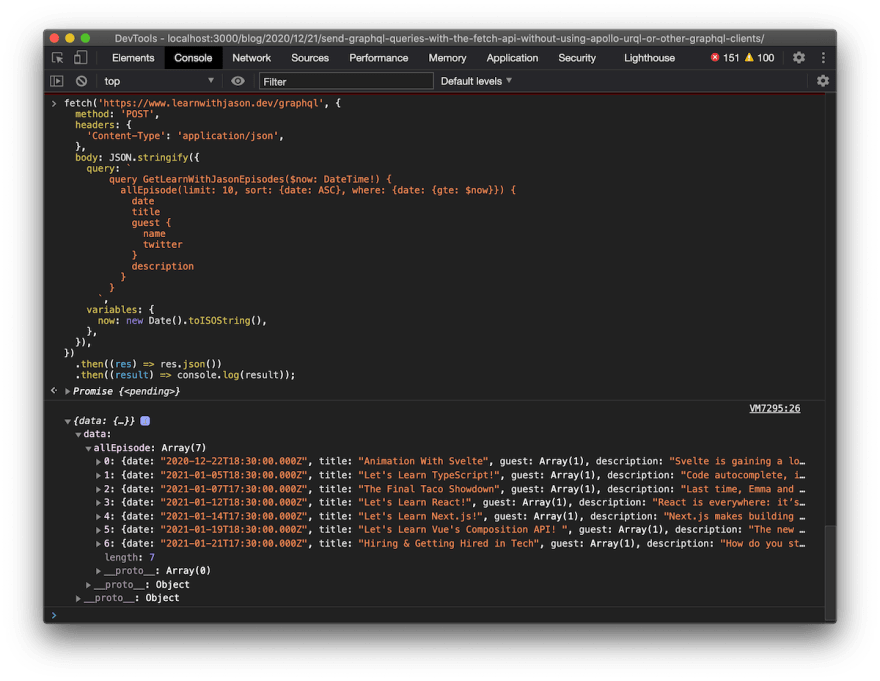 screenshot of GraphQL query result in the console after sending a fetch request