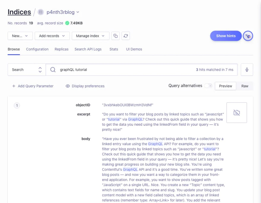 """A screenshot of the Algolia Indices dashboard, showing a preview of the results as I search for """"graphQL tutorial""""."""