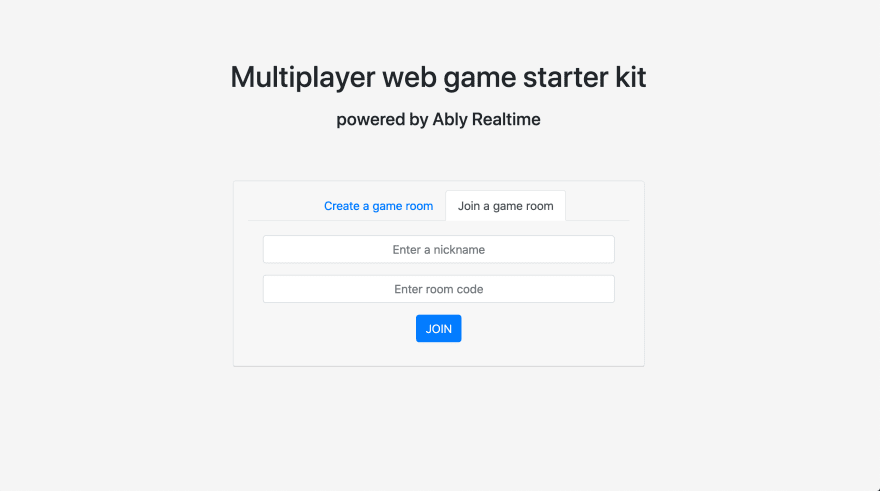 Homepage of the demo app that works on this framework