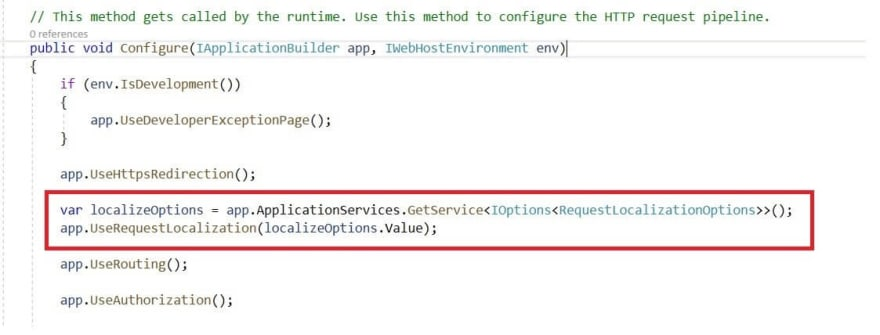 Configure Request Localization Middleware