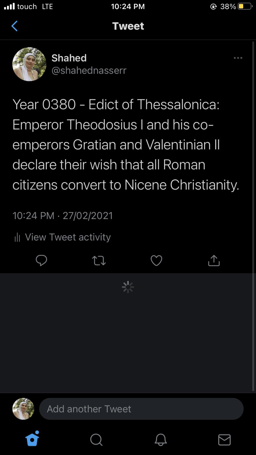 Tweet from bot