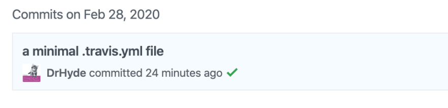 Github showing that my tests passed