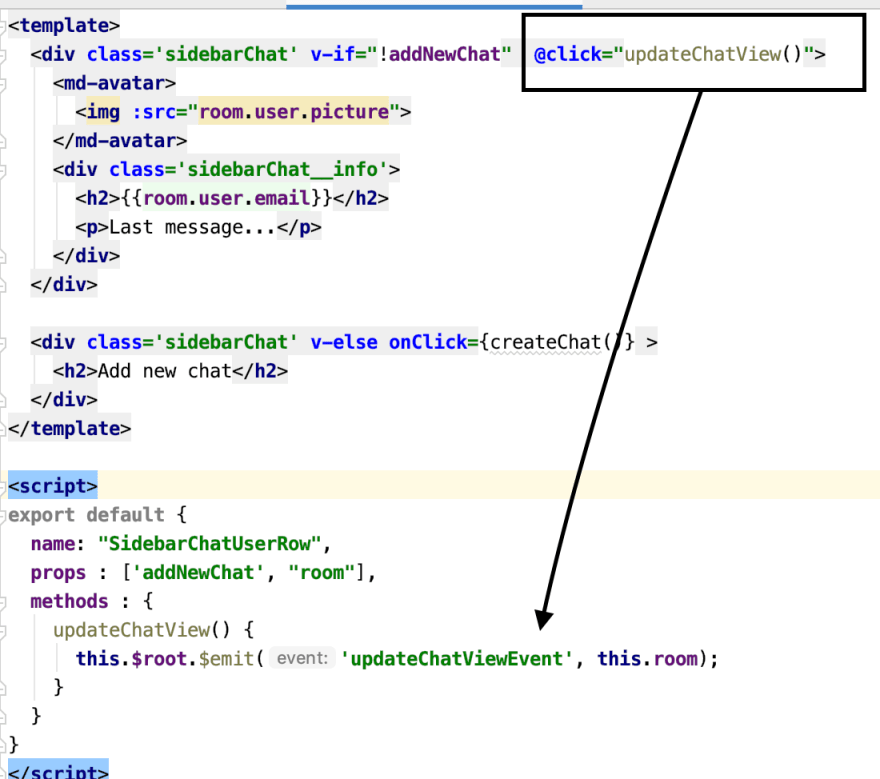 Emit an event in **SidebarChatUserRow** component