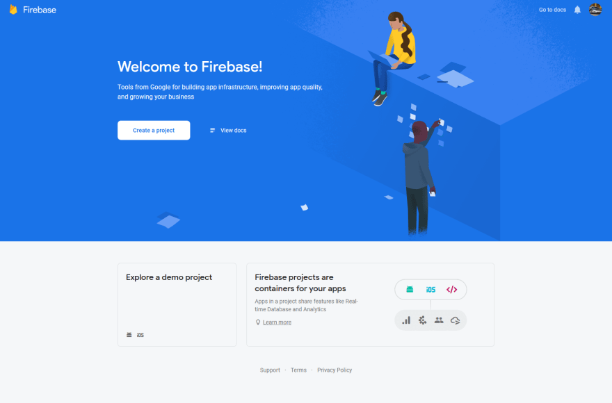 Firebase console home page