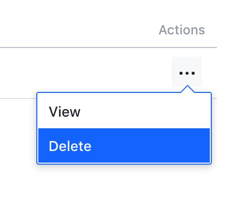 Actions --> Delete