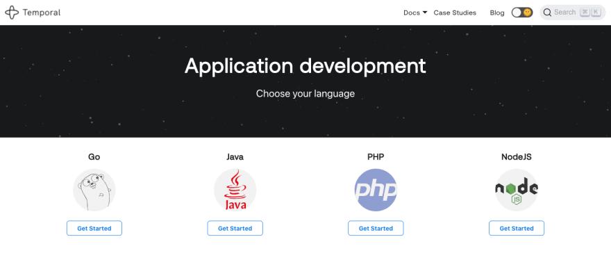 Temporal documentation app dev landing page April 2021