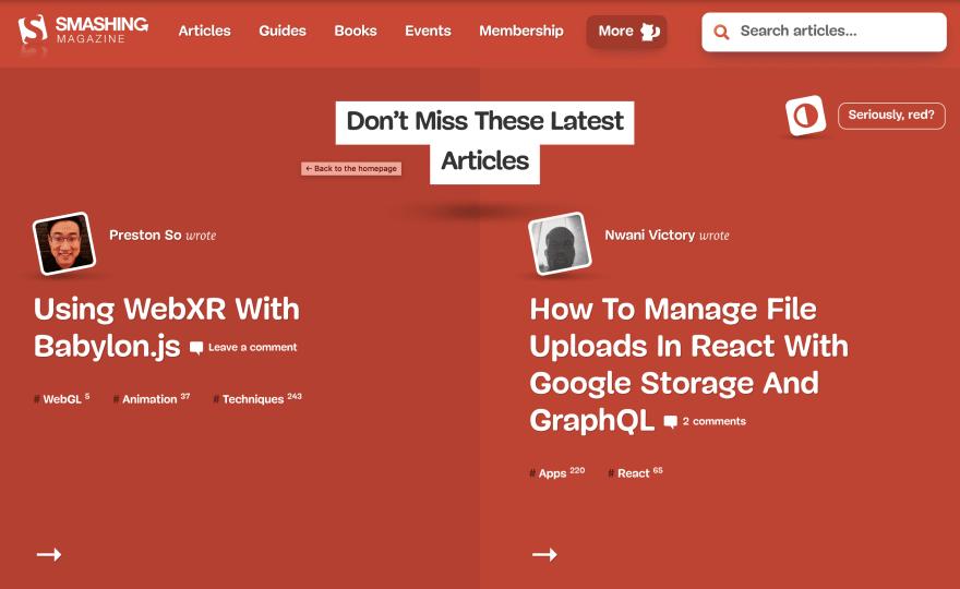 Smashing Mag home page