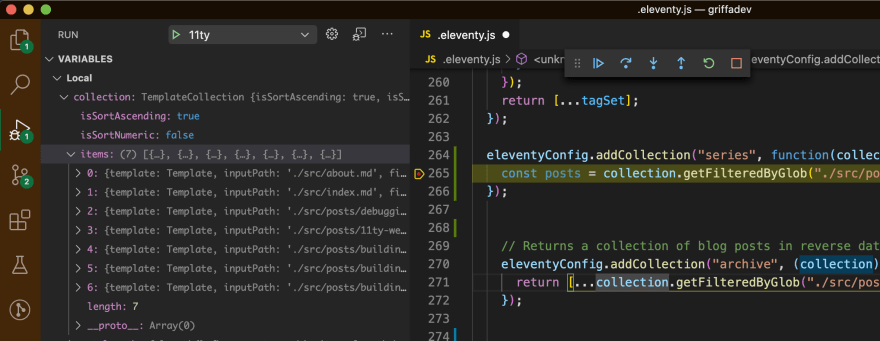 VSCode showing code paused on a line