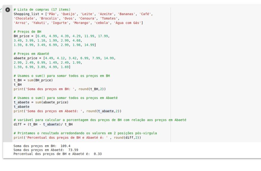 Código implementado em Python, para mostrar o uso de listas