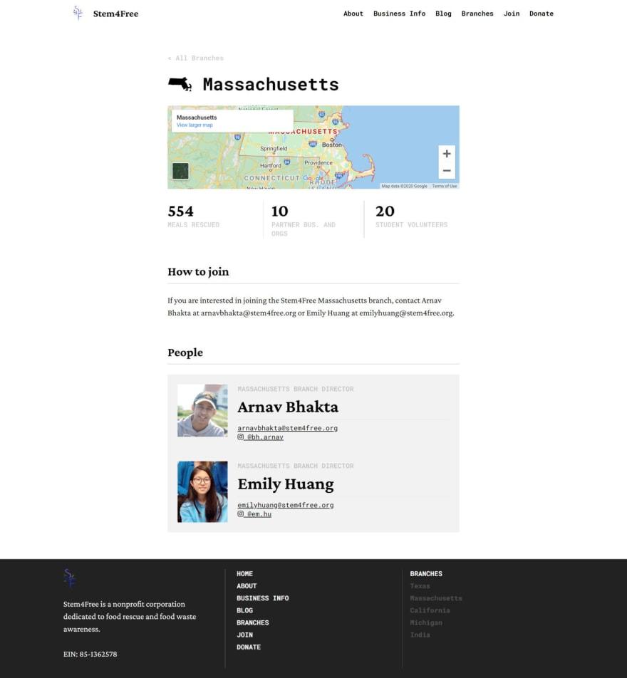Website v2 branch page