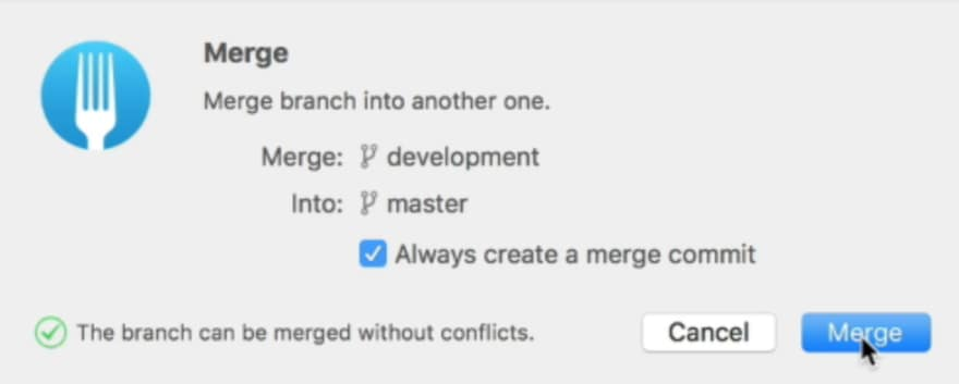 Menu that asks whether you want to create a merge commit