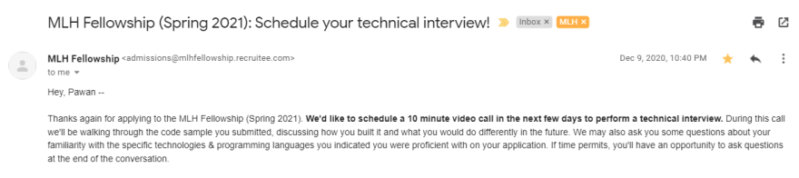 Scheduling Technical Interview