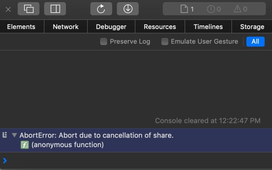 Safari raises an AbortError exception upon cancelation of navigator.share