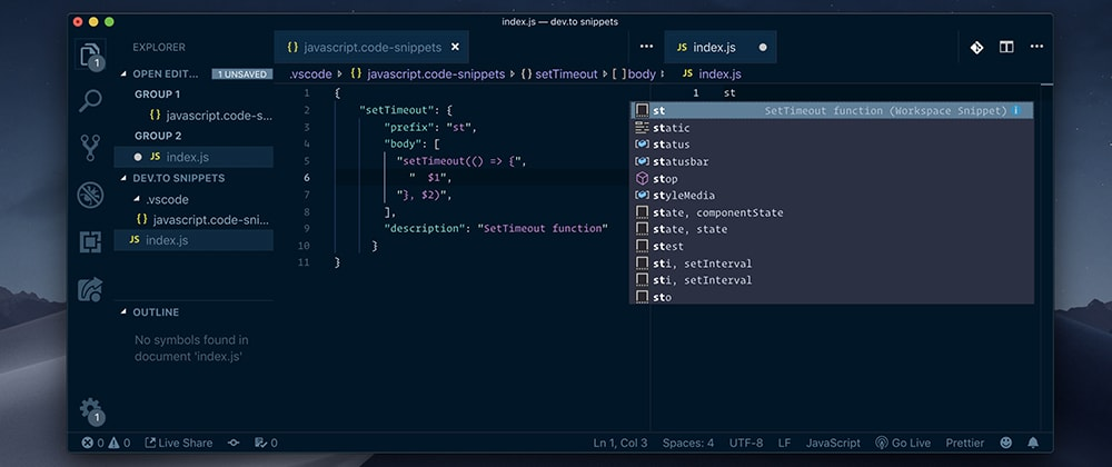 Cover image for Use snippets in VS Code, to boost your productivity and simplify your work!