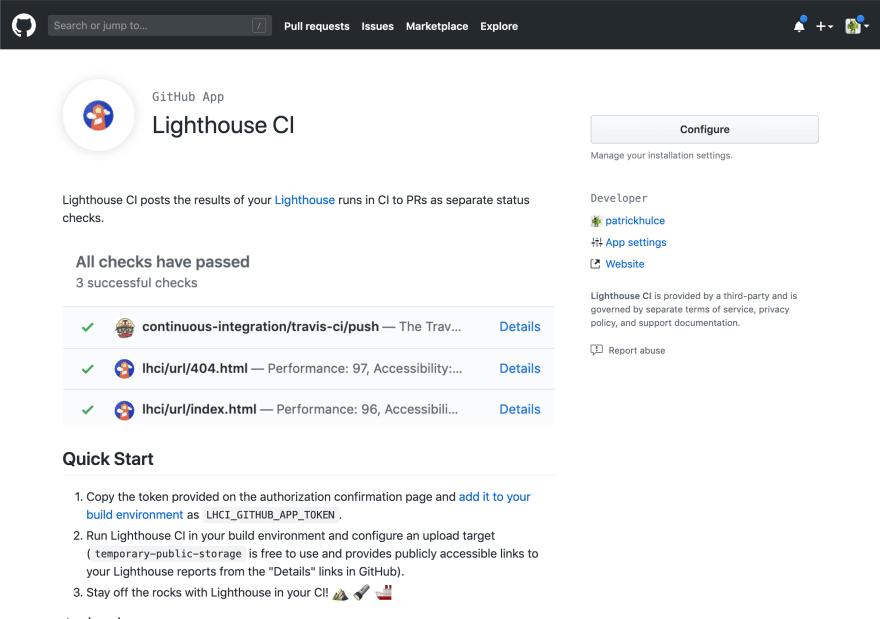 Screenshot of the Lighthouse CI github app UI