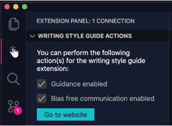Example of how it is used for the Writing Style Guide extension