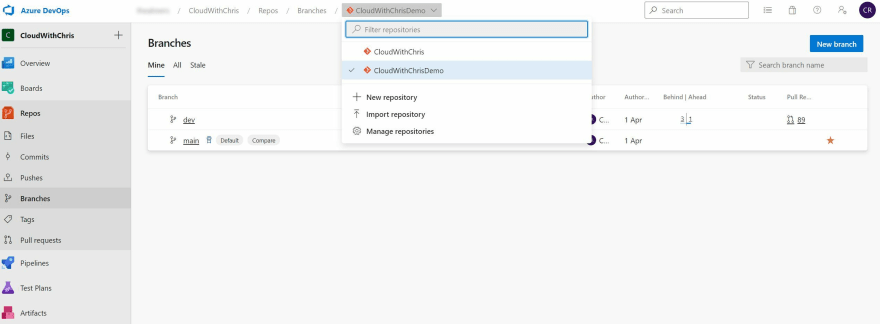 Screenshot showing multiple options for the Git Repository in the dropdown at the top of the Branches page in Azure Repos