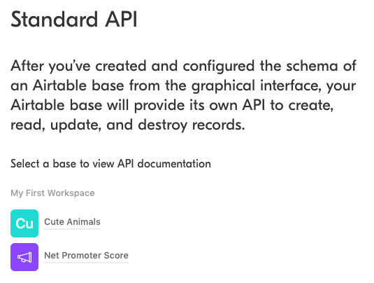 """Screenshot of the Airtable API landing page. There are links to 2 bases: """"Cute Animals"""" and """"Net Promoter Score."""""""