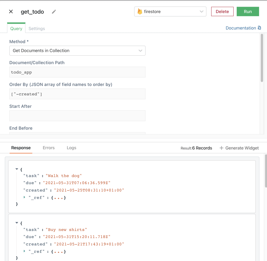image showing query to get todos