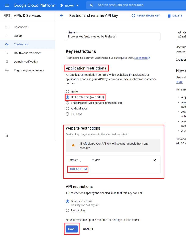 API Key Restrictions Tab