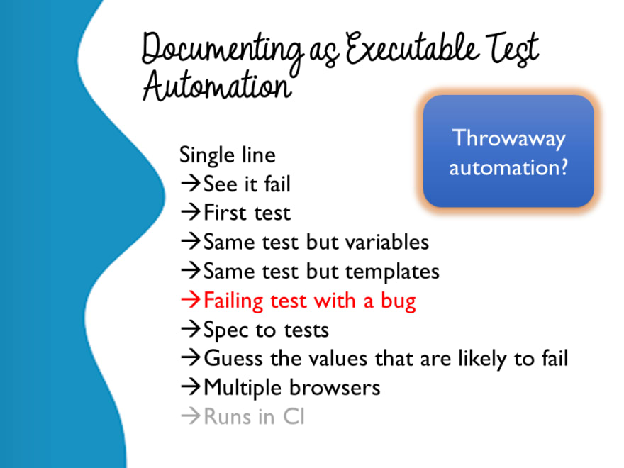 Documenting as Executable Test Automation