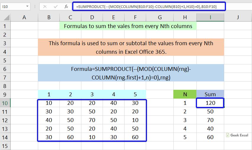 Formulas to sum every Nth columns