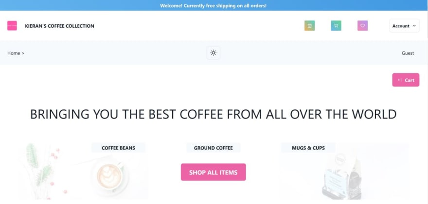 My coffee e-commerce project home screen
