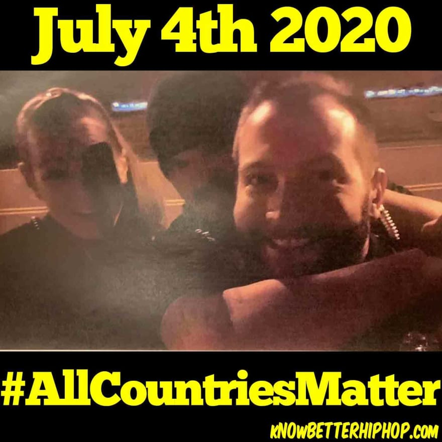 Radio show episode image of 3 police officers mocking the murder of Elijah McClain with the words July 4th 2010, #AllCountriesMatter