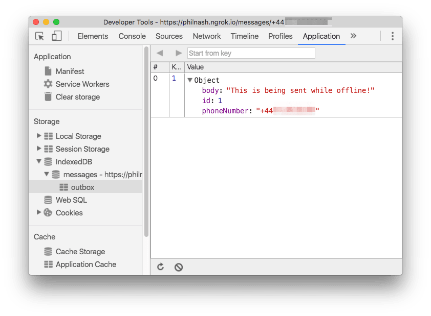 In dev tools you can see the message has been stored in IndexedDB in the messageOutbox.