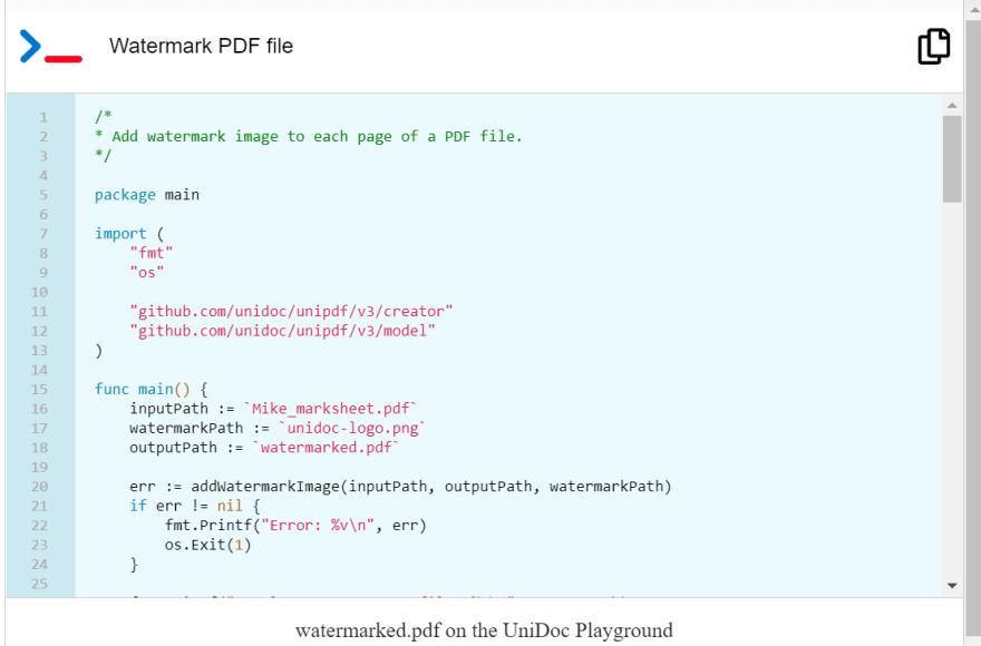 Watermark PDF example runnable on UniDoc Playground