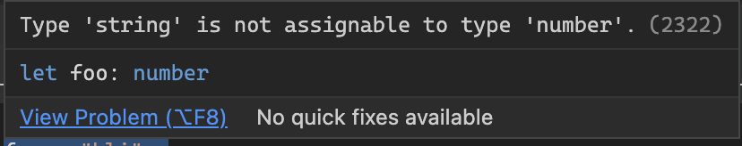 Typescript error for not using the correct type.<br>
