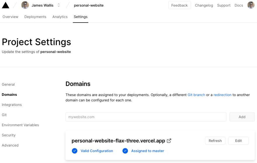 Domain settings screen