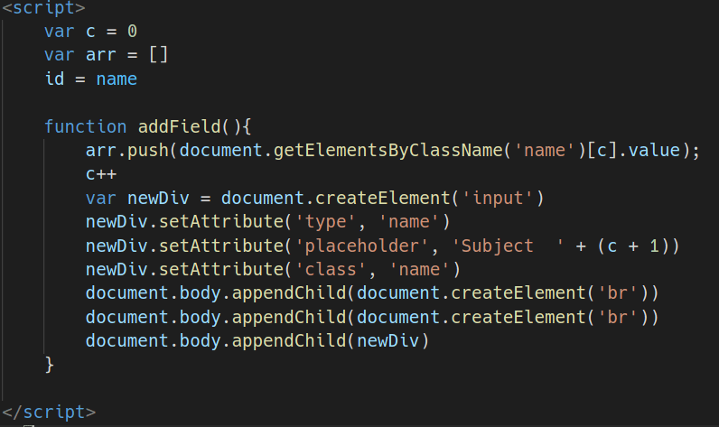 Adding subject name in array