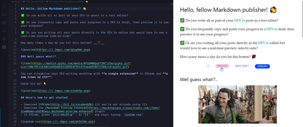 Cover image for Streamline your DEV.to writing workflow with VSCode