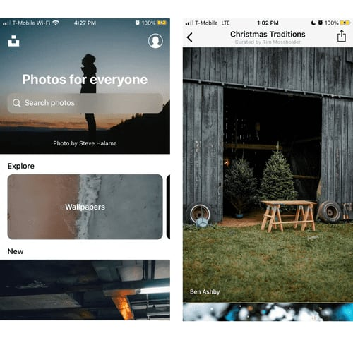 Unsplash iOS home and search results screens