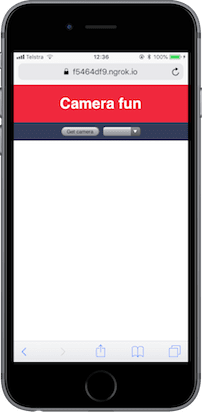 The app should have a title saying 'Camera fun' with a button and an empty drop down box.