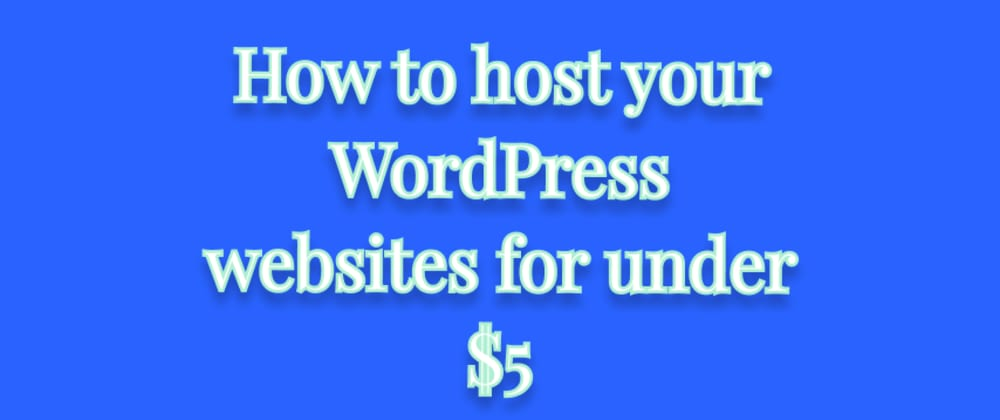 Cover image for How to host your WordPress websites for under $5 (a step by step guide)