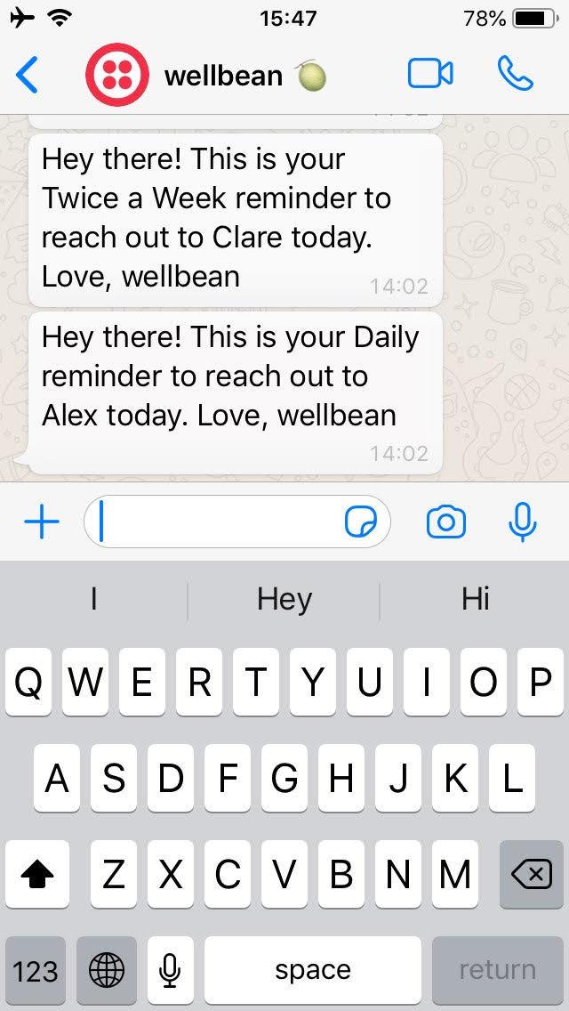 Wellbean Whatsapp messages
