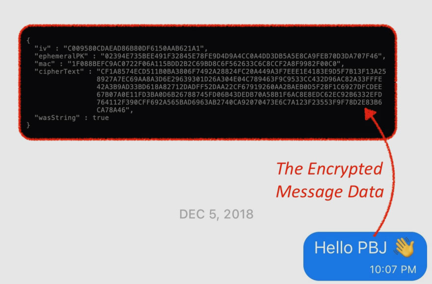 Figure 1.0: A message in Stealthy and the resulting encrypted ECIES data.