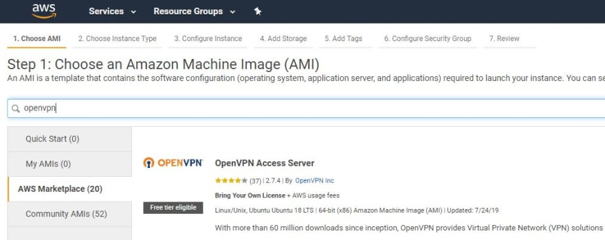 OpenVPN in AWS Marketplace