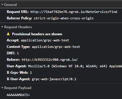 Uma chamada gRPC feita a partir do browser mostrando a URL e as informações de requisição