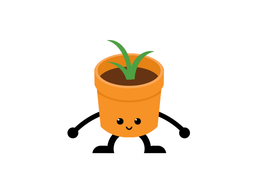 A cartoon of a flower pot with eyes, legs, and arms