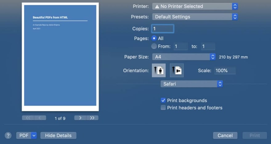 Beautiful PDFs from HTML