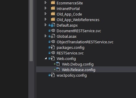 Visual Studio solution explorer showing the `web.Debug.config` and `web.Release.config` nested under a `web.config` file