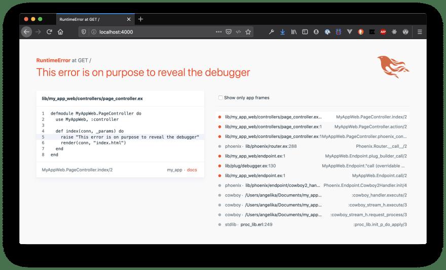 A debug page of a Phoenix app