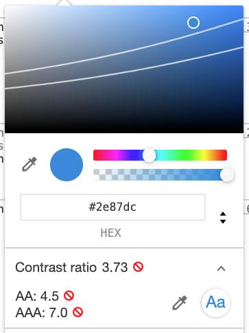 Chrome color picker with conformance level errors