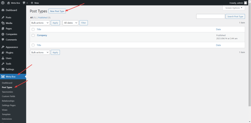 Create a new custom post type for the reservation