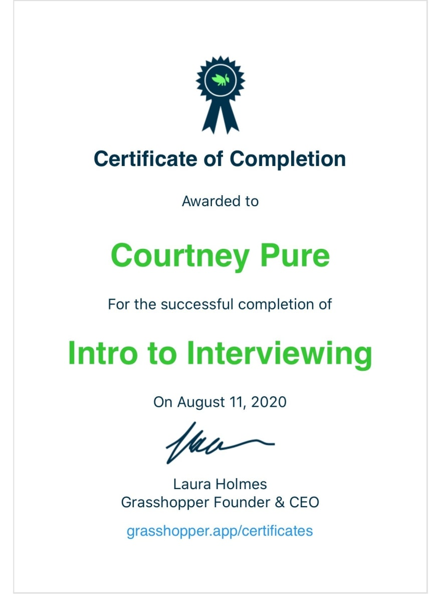 Certificate of Completion Intro to Interviewing from Grasshopper