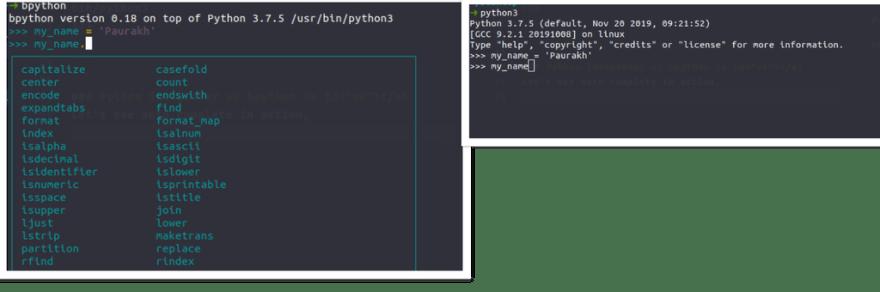bpython vs python intepreter autocomplete