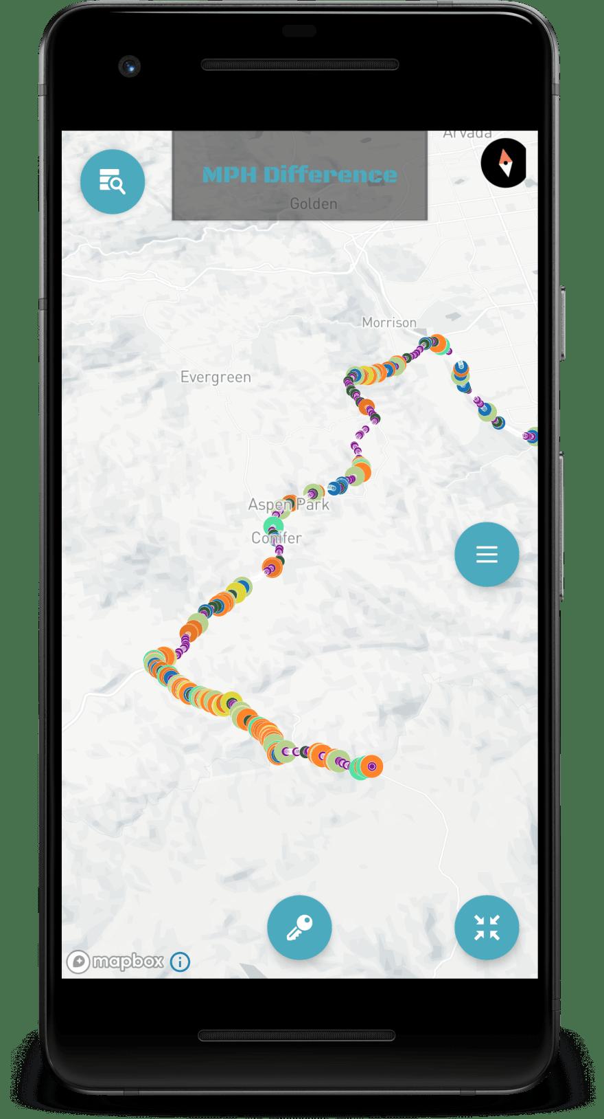 MOTOrift app map screen IMU heat map